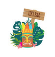 tiki bar banner with hawaiian mask and leaves flat vector image vector image