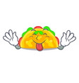 tongue out omelatte fried isolated on the mascot vector image