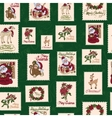 vintage holiday stamps green christmas vector image