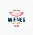 wiener sausage hot dog vintage typography label vector image