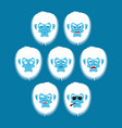 yeti emoji set bigfoot sad and angry face vector image vector image
