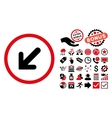 Arrow Left-Down Flat Icon with Bonus vector image vector image
