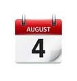 August 4 flat daily calendar icon Date vector image vector image