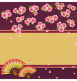 Background Japanese cherry tree sakura and fans vector image vector image