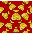 Bags with dollars on a red seamless vector image vector image