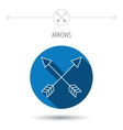 Bow arrows icon Hunting sport equipment sign vector image vector image