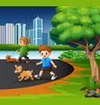 childrens walking with their pets at city park vector image