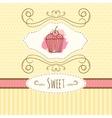 cupcake hand drawn card vector image vector image