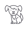 cute dog line icon sign on vector image vector image