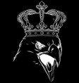 eagle head king logo mascot in black background vector image vector image