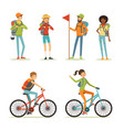 family tourism people hiking young people vector image vector image