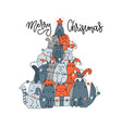 fir-tree made cats spruce pet christmas vector image vector image