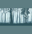 foggy forest silhouettes trees in misty vector image vector image