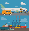 Freight and Airways and Seaways Transport vector image vector image