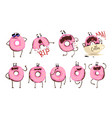 funny pink donut cartoon character set cute vector image vector image