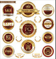 golden badges and labels with laurel wreath vector image vector image