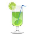 green cocktail with a lemon slice vector image