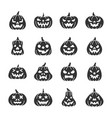 halloween pumpkin black silhouette icon set vector image