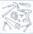 hand sketch icons set of carpentry tools a saw vector image
