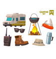 house on wheels thermos bottle hiking boot walkie vector image vector image
