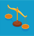 isometric scales balance concept make choice vector image