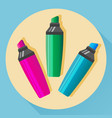 multicolored highlighters icon vector image vector image