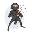 ninja cartoon hand drawn image vector image