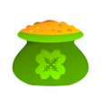 paper art form of a green pot of gold for vector image vector image
