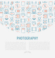 photography concept with thin line icons vector image vector image