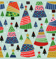 seamless pattern with decorative christmas trees vector image vector image