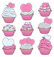 set color cupcakes with hearts vector image vector image