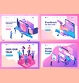 set isometric website bright concept vector image