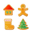 set of cute gingerbread cookies for christmas vector image vector image