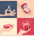 set of hands with gifts vector image