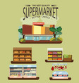 set of supermarket departments fruit and milk vector image vector image