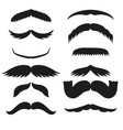 silhouette black white mustache hair vector image vector image