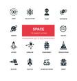 space concept - line design silhouette icons set
