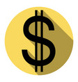 united states dollar sign flat black icon vector image