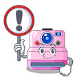 with sign cute retro instant camera on cartoon vector image