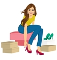 woman trying many fashionable shoes vector image vector image