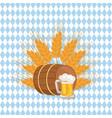 wooden barrel with beverage and mug beer vector image