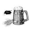 Wooden beer mug with wheat grain Sketch style vector image