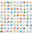 100 team icons set isometric 3d style vector image vector image