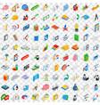 100 team icons set isometric 3d style