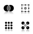 abstract symbols drop shadow black glyph icons set vector image vector image