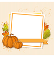 Autumn frame with pumpkins vector image vector image