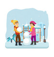 boy girl in winter clothes sculpt snowman vector image vector image