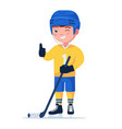 boy hockey player in a sports uniform with a stick vector image vector image