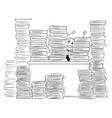 cartoon of clerk or businessman lost behind vector image