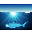 cartoon shark on the sea vector image vector image